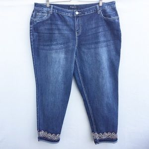 Baccini embroidered sequined ankle/capri jeans.